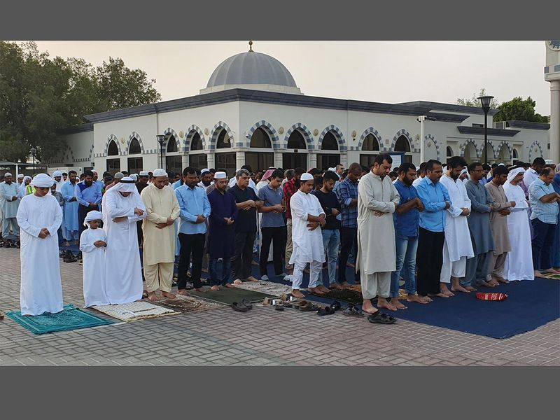 Eid People gather at  Dubai's Farooq Omar Bin Al Khattab Mosque -092