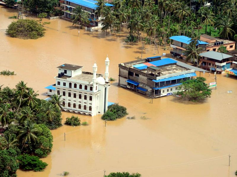 A view of a flood-affected region in Malappuram district,
