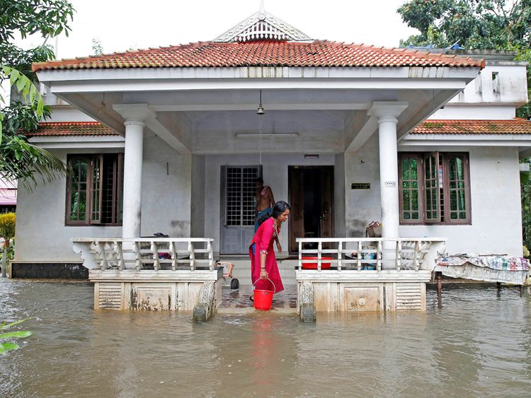 Kerala flooded house