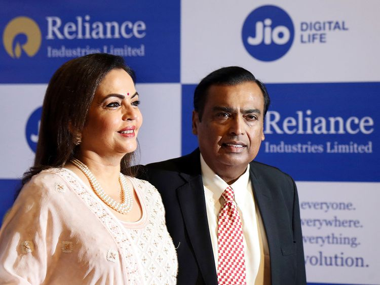 Mukesh Ambani,right, with wife Neeta Ambani