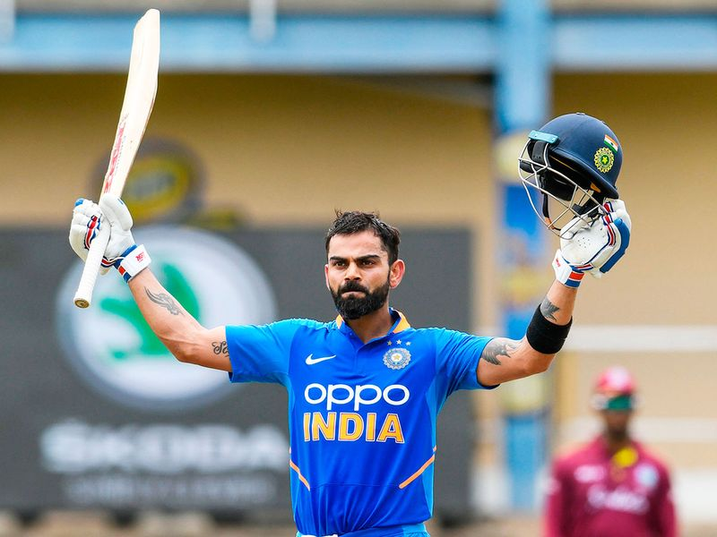 Virat Kohli of India celebrates his century