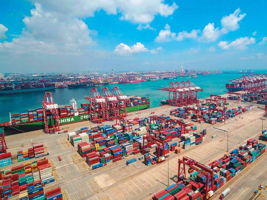 Containers stacked at Qingdao port in Qingdao