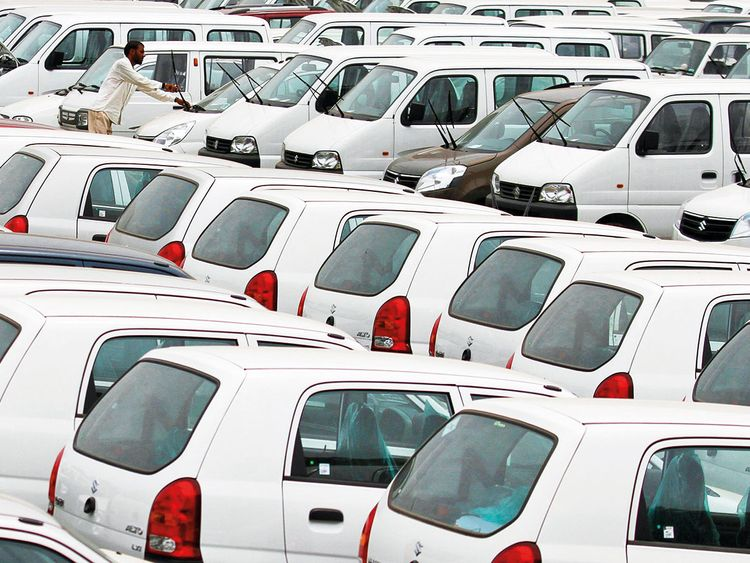 Maruti Suzuki cars at a stockyard in Ahmedabad