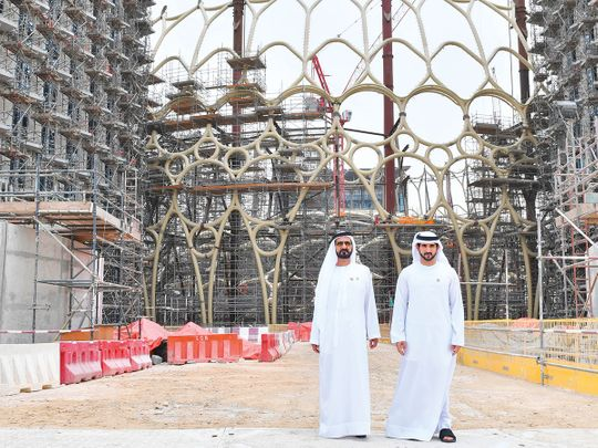 Sheikh Mohammed and Sheikh Hamdan at the site of the UAE pavilion
