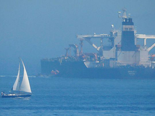 A sailboat sails