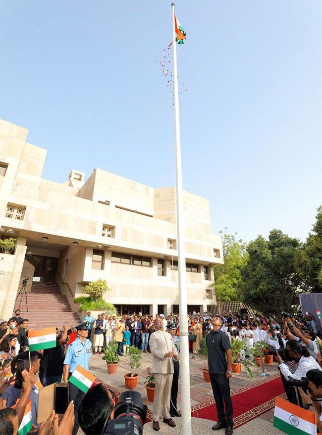 Indian Ambassador to the UAE Navdeep Singh Suri hoists the flag