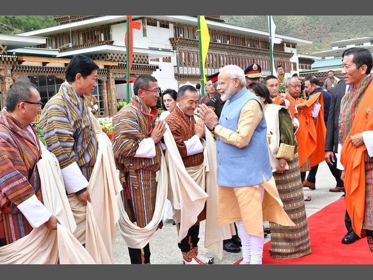 Prime Minister Narendra Modi was met by his Bhutanese PM Lotay Tshering
