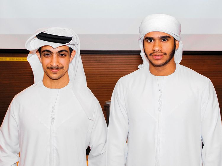 Ahmad Al Mansouri (left) and Khalid Al Daheri hope to commercialise the product within 18 months.