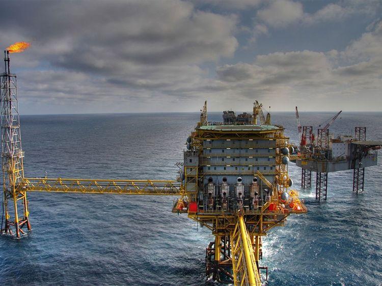 Oil field, oil rig