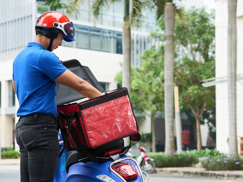 Food delivery guy stock