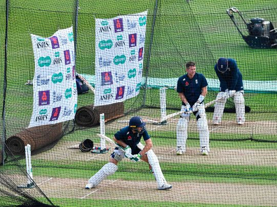 England players bat in the nets