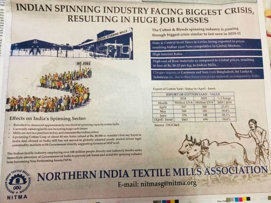 Indian textile body uses newspaper ad to get government attention