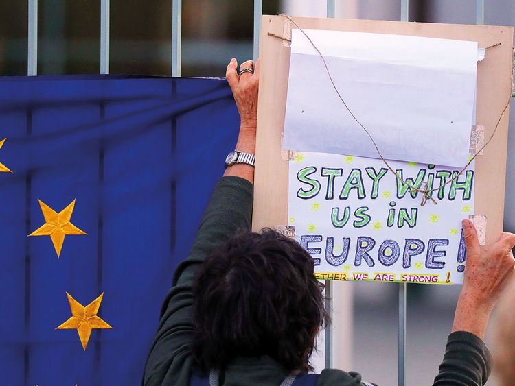 An anti-Brexit protester