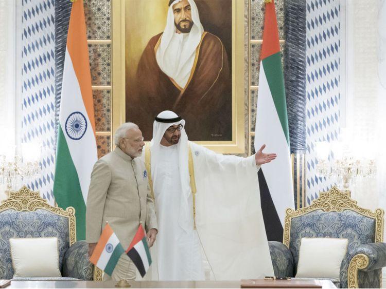 Shaikh Mohammad Bin Zayed Al Nahyan with Narendra Modi