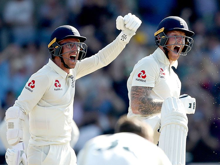 England's Jack Leach and Ben Stokes