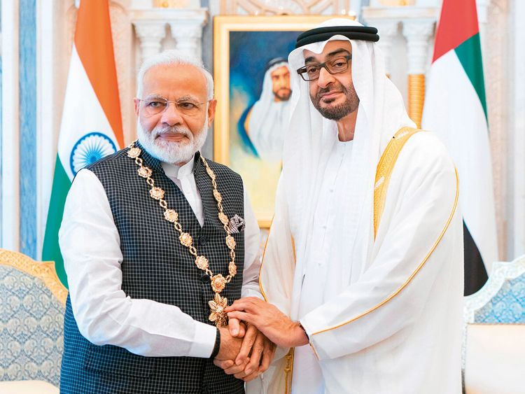 190826 Narendra Modi and Sheikh Mohamed Bin Zayed
