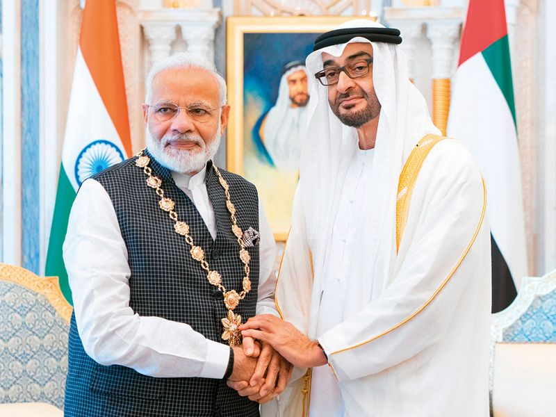 190826 Narendra Modi and Sheikh Mohamed Bin Zayed
