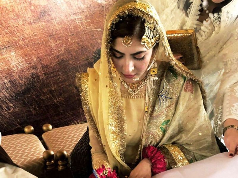 Bride Naimal Khawar at the nikah ceremony-1566799736103