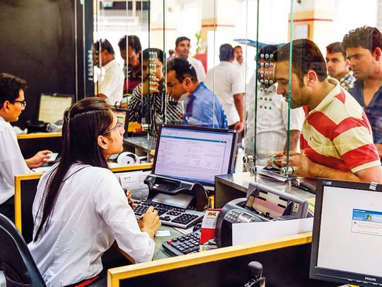 Indian expatriates queue up at UAE Exchange in Rolla Square