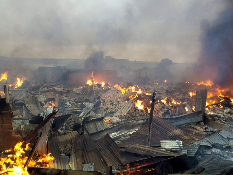 Bouake, central Ivory Coast, market fire