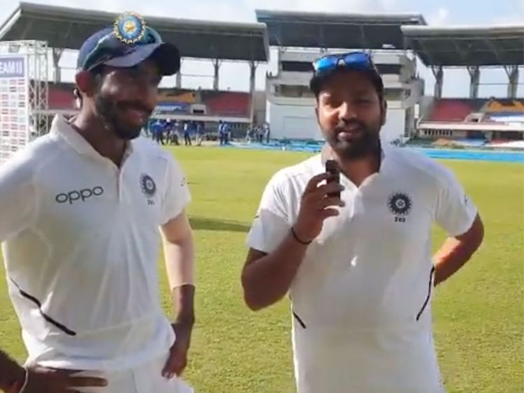 Rohit Sharma (right) interviews Jasprit Bumrah