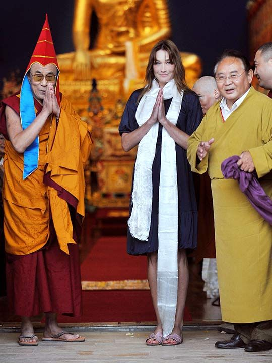 Sogyal Rinpoche with Dalai Lama and Carla Bruni-Sarkozy