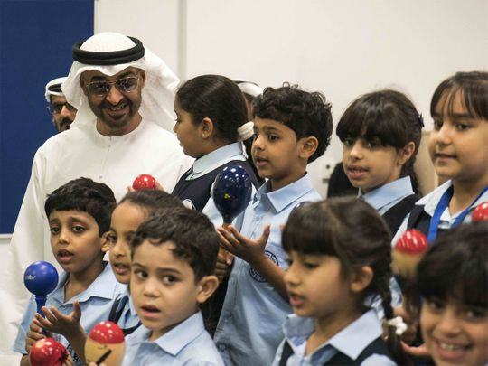 Sheikh Mohamed Bin Zayed with students