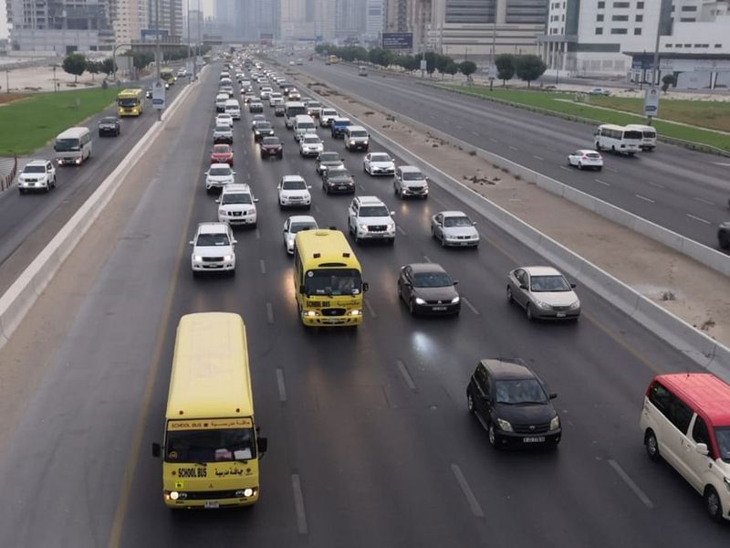 Heavy traffic on the first day of school opening UAE