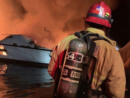 boat fire sinks