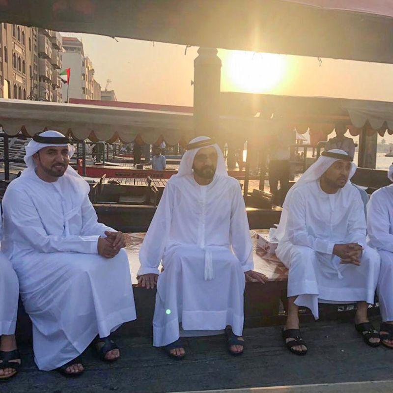Shaikh Mohammed with entourage on abra