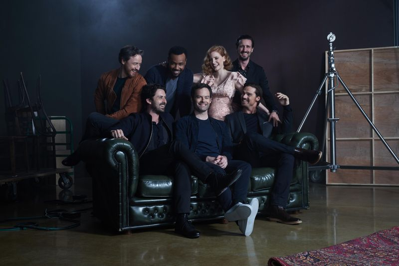 The cast of 'It: Chapter Two' cast: (Top row) James McAvoy, Ishaiah Mustafa, Jessica Chastain and James Ransone; (bottom row:) Andy Bean, Bill Hader and Jay Ryan.