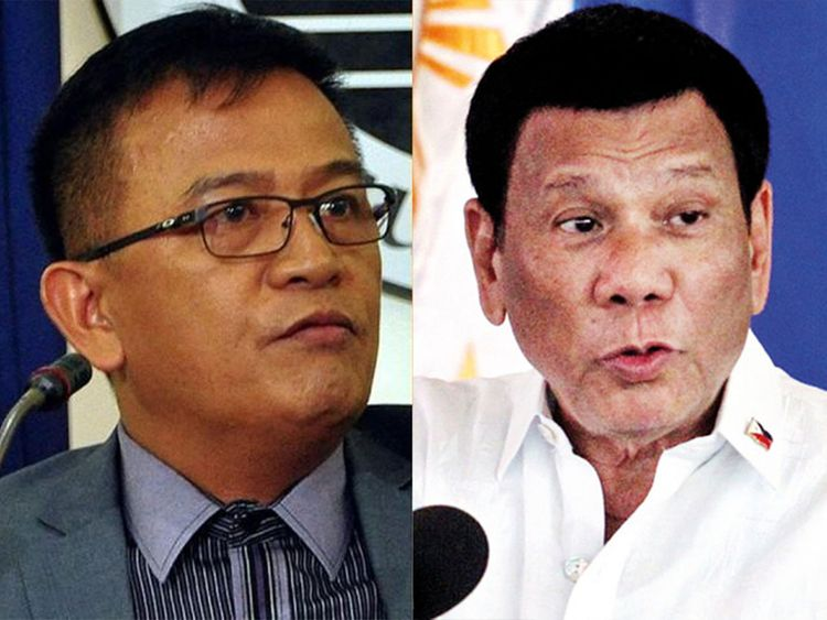 Philippine President Rodrigo Duterte (right) and Nicanor Faeldon 0121