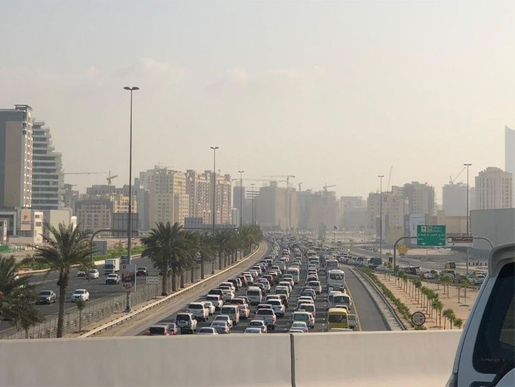 Rush-hour traffic in Dubai