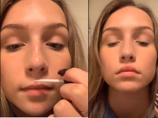 Before and after shots - lip challenge