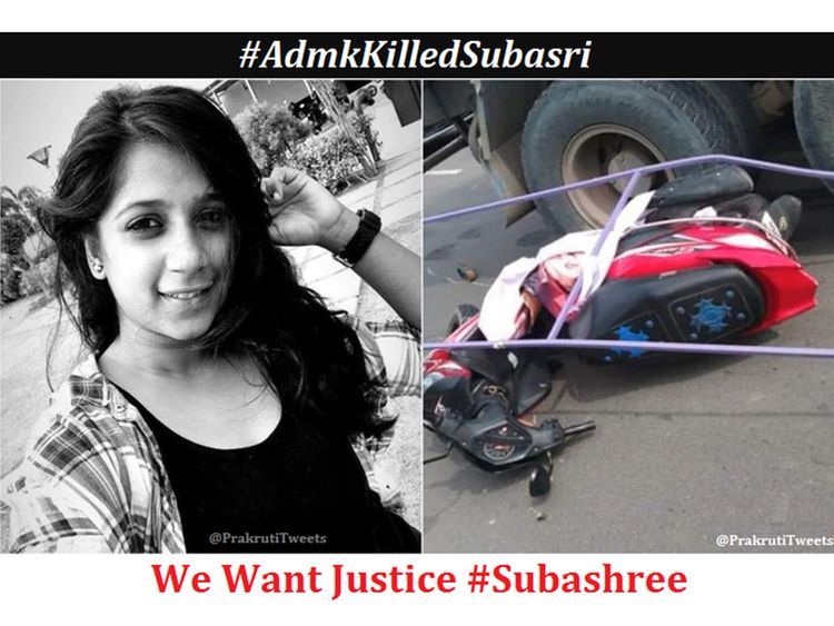 WhoKilledSubashree Indian Techie Run Over By Truck After