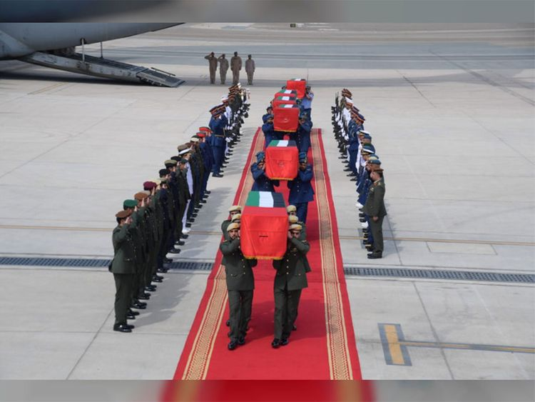 The bodies of six UAE martyrs arrived at Al Bateen Airport in Abu Dhabi aboard a UAE Air Force plane on Saturday.