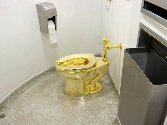 America, gold toilet