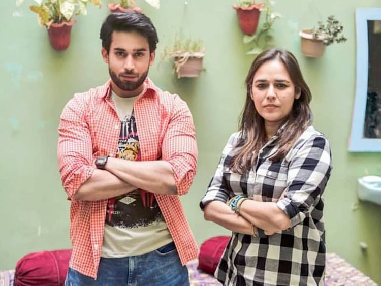 Bilal Abbas Khan with director Mehreen Jabbar, at the shoot of AIK JHOOTI LOVE STORY-1568616177548