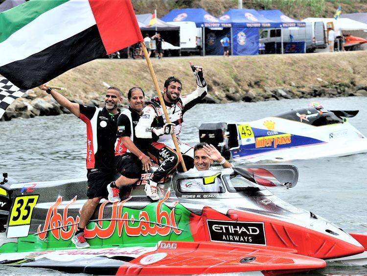 Rashid Al Qamzi celebrates