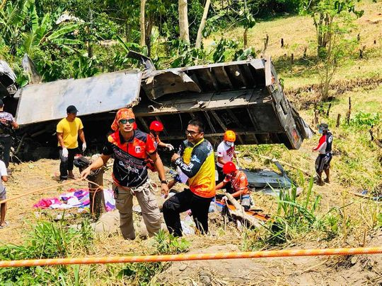 20 killed as truck plunges down ravine in Philippines - Gulf News