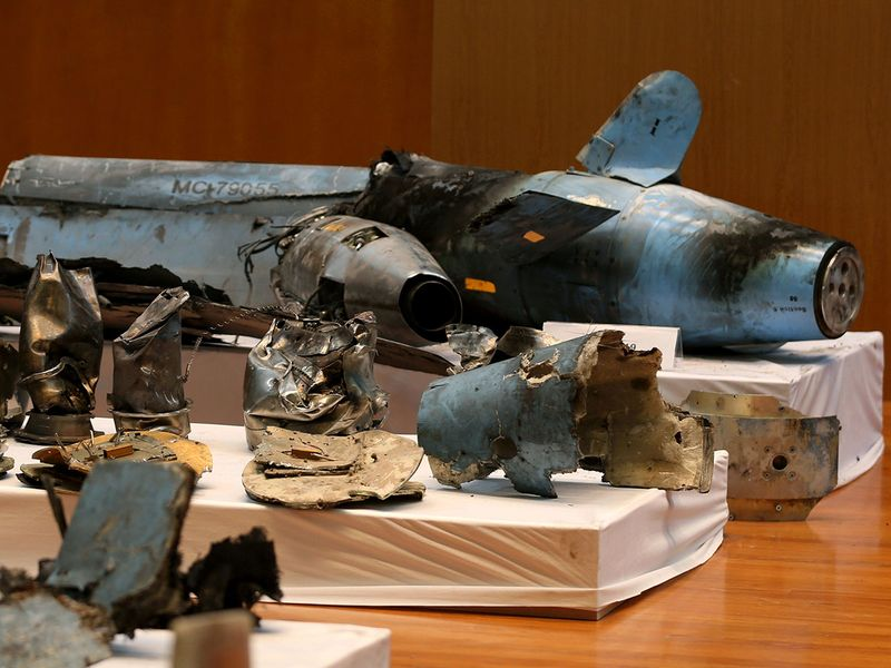 Remains of the missiles which Saudi government says were used to attack an Aramco 001