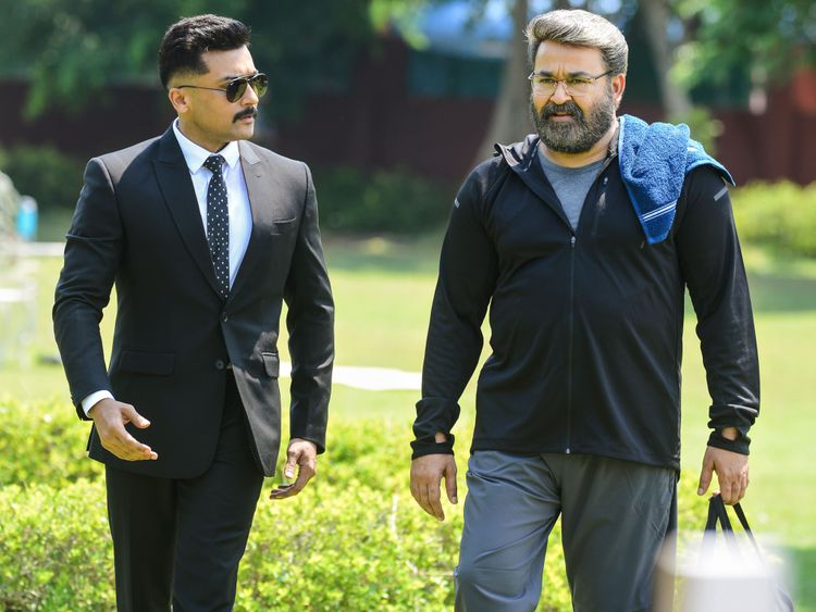 Surya with Mohan Lal in Kaappaan-1568792947377