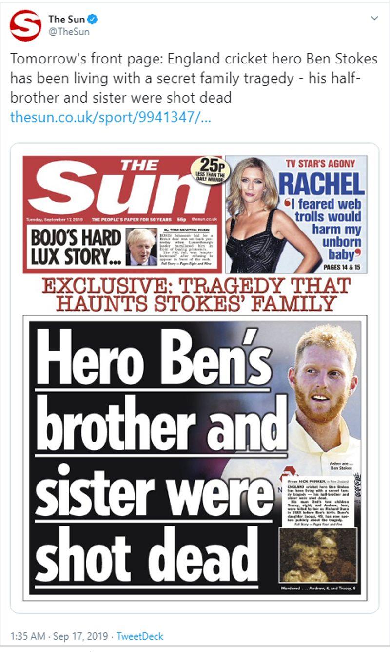 The Sun tweet Ben Stokes