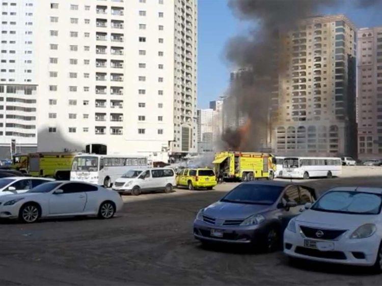 Bus fire in Sharjah