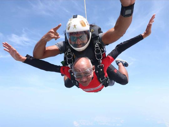 Sushil Kumar during his tandem skydive at Skydive Dubai's Palm Dropzone