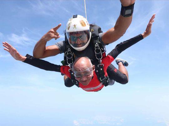 Sushil Kumar during his tandem skydive at Skydive Dubai's Palm Dropzone