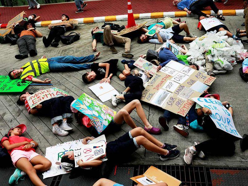 Environmental activist play dead in Thailand