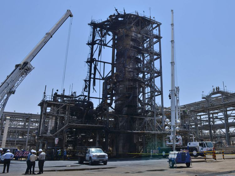 Saudi Aramco attacks plant photos