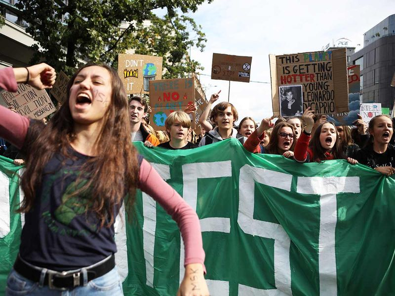 Young activists take part in an environmental demonstration in Poland 20190920