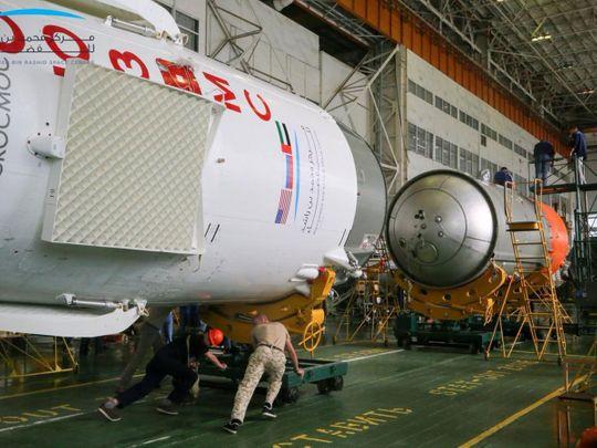 The Soyuz FG rocket with the UAE flag